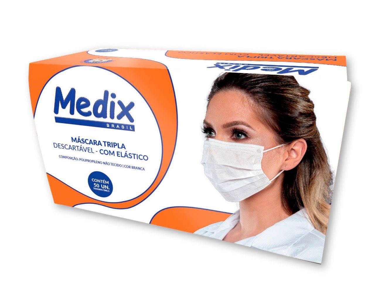 Máscara Tripla Descartável Com Filtro (BFE 95%) Branca - Caixa 50 un.