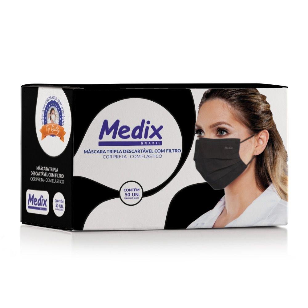 Máscara Tripla Descartável Com Filtro (BFE 95%) Preta - Caixa 50 un.