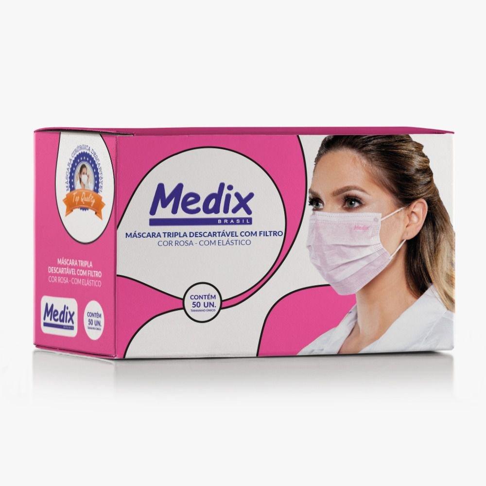 Máscara Tripla Descartável Com Filtro (BFE 95%) ROSA - Caixa 50 un.