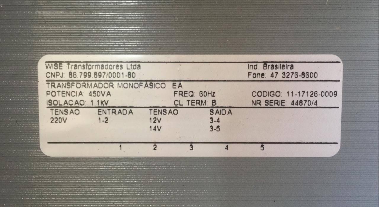 TRANSFORMADOR 5023-14 2005 450VA 220V  - Riberpack