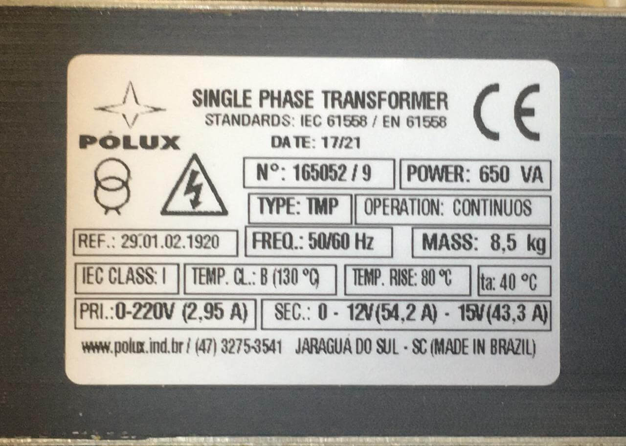 TRANSFORMADOR 650VA 220V S15V  - Riberpack