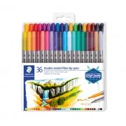 Estojo contendo 36 canetas de ponta de fibra dupla  Hidrocor 3200 - Staedtler