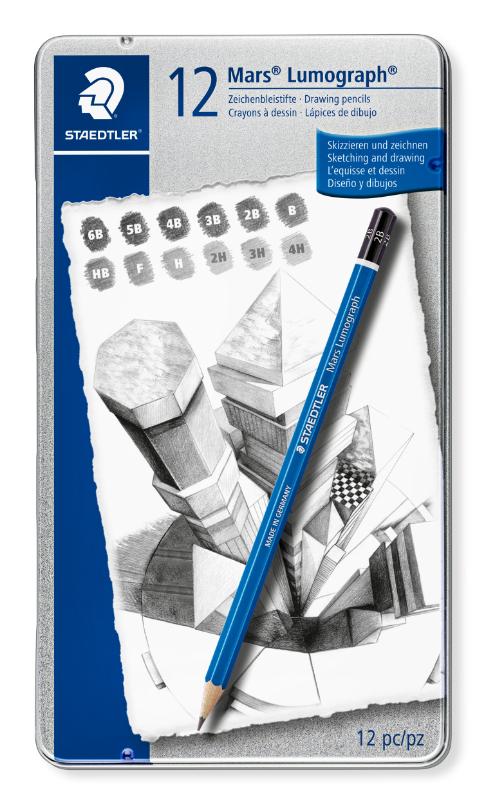 Estojo contendo 12 Lápis premium de desenho Mars Lumograph 100 - Staedtler