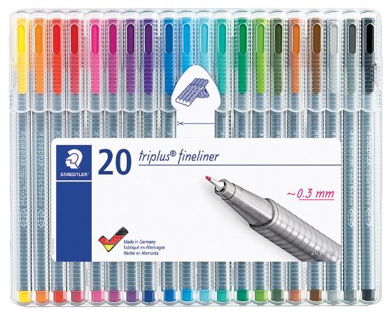 Estojo contendo 20 Triplus Fineliner em cores sortidas  334 - Staedtler