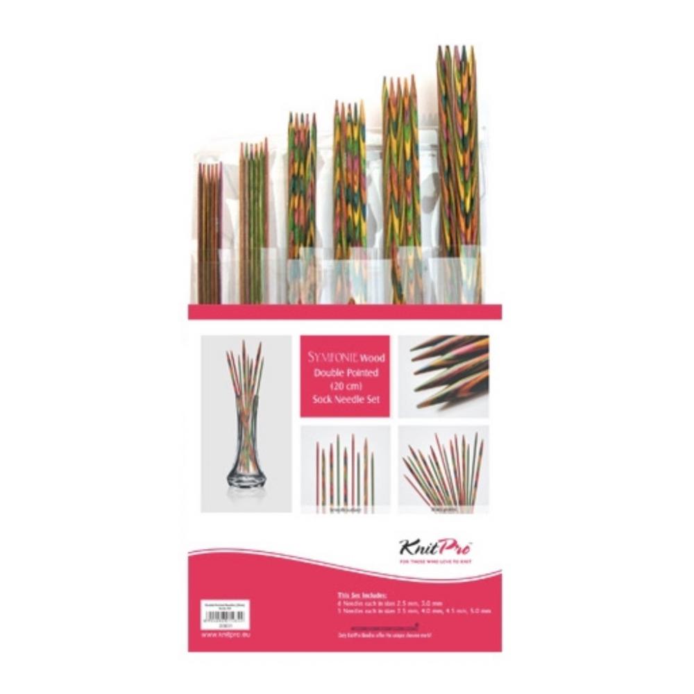 Estojo de agulhas de 2 pontas 20 cm Symfonie Wood - KnitPro