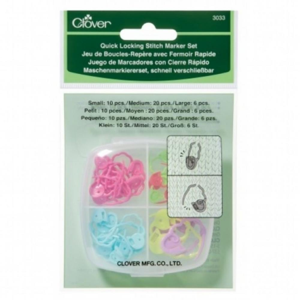 Estojo de marcadores (cadeados) de abertura rápida para tricô e crochê - Clover 3033