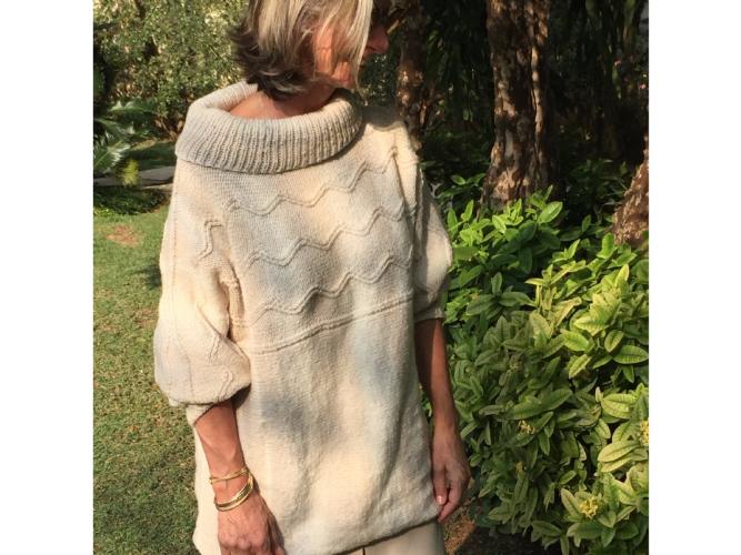 Kit Primula Wave Sweater - Tamanho P - Catena Primula - Lanafil