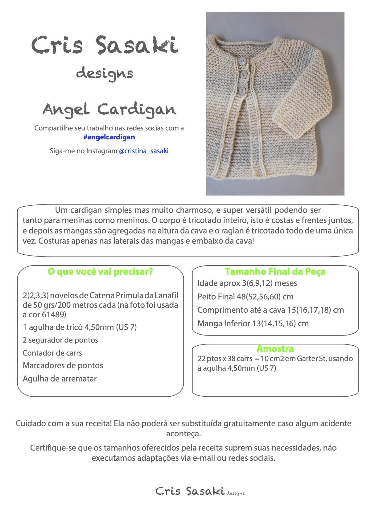 Receita Angel Cardigan - Empório das Lãs