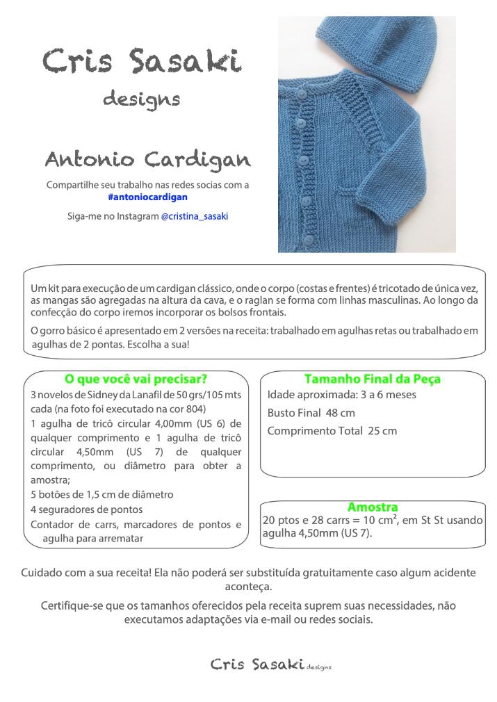 Receita Antonio Cardigan - Empório das Lãs