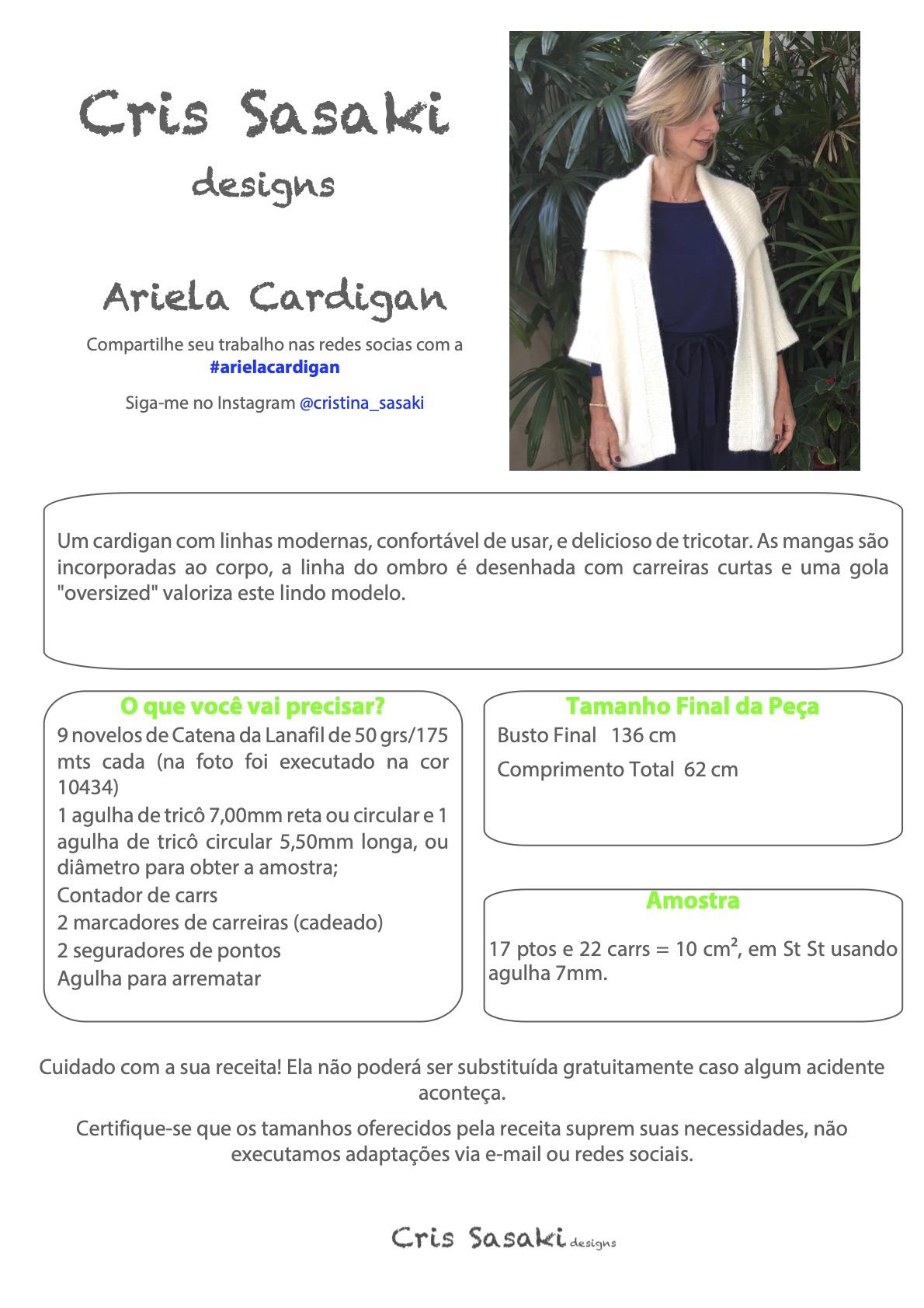 Receita Ariela Cardigan - Empório das Lãs