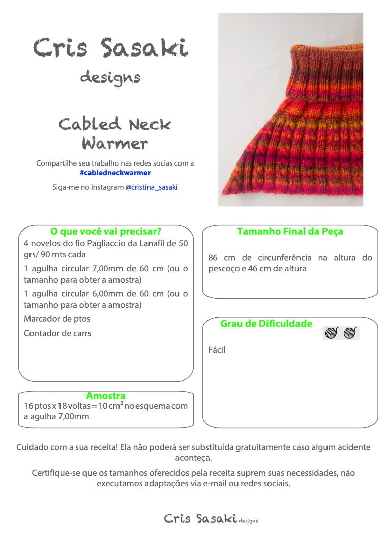 Receita Cabled Neck Warmer - Empório das Lãs
