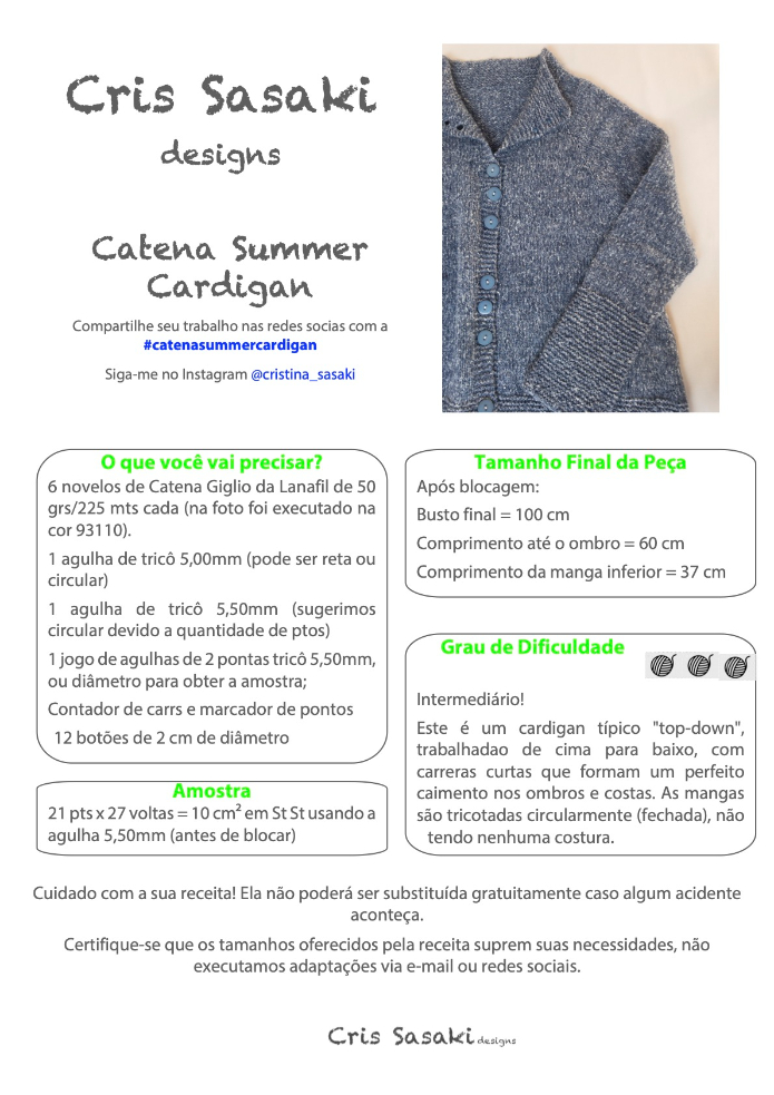 Receita Catena Giglio Summer Cardigan - Empório das Lãs