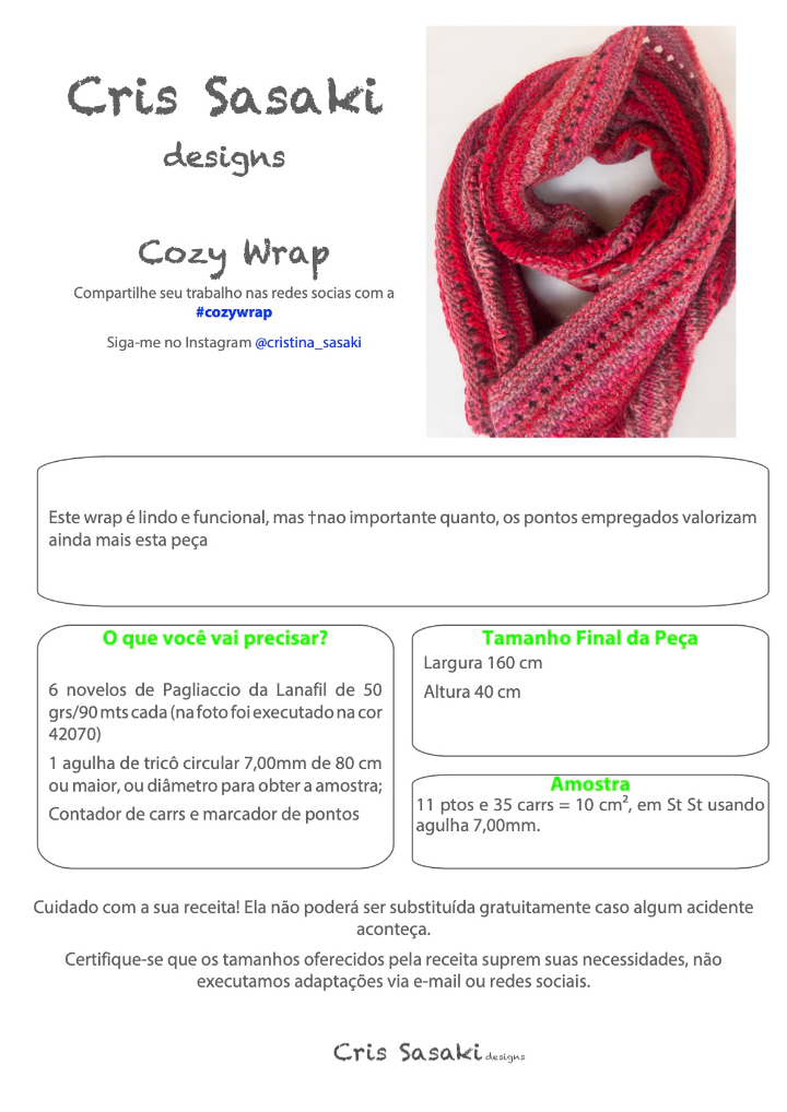 Receita Cozy Wrap - Empório das Lãs