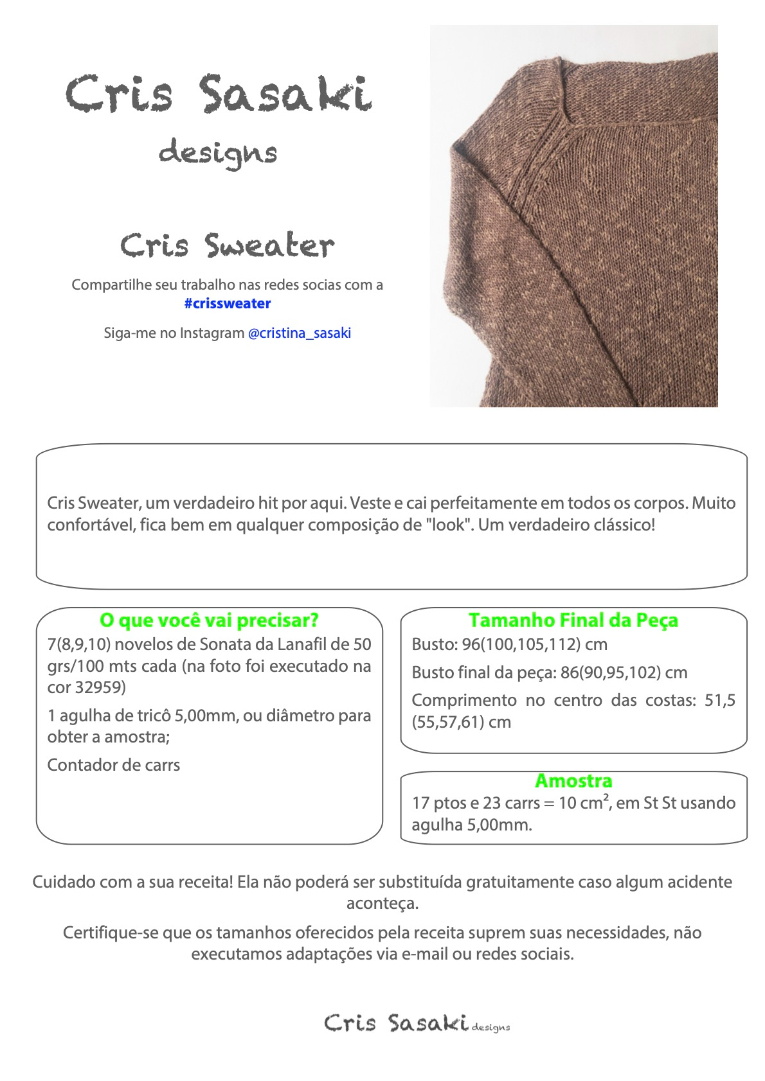 Receita Cris Sweater - Empório das Lãs