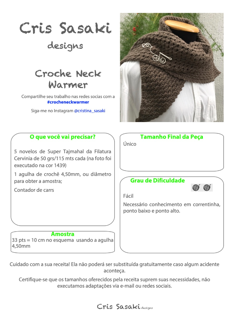 Receita Croche Neck Warmer - Empório das Lãs