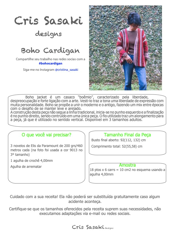 Receita de Crochê Boho Cardigan - Empório das Lãs