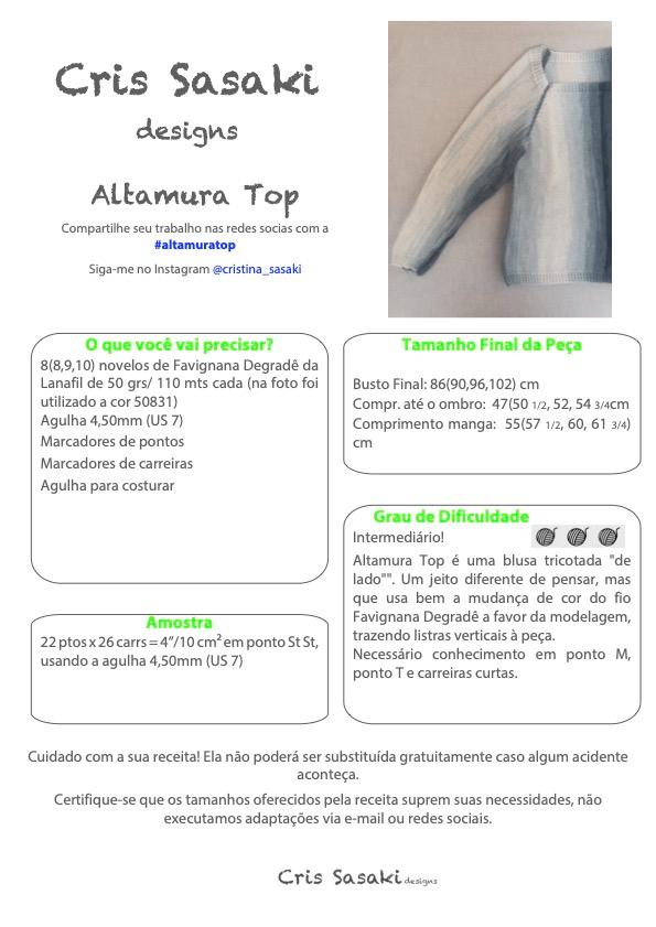 Receita de Tricô Altamura Top - Empório das Lãs