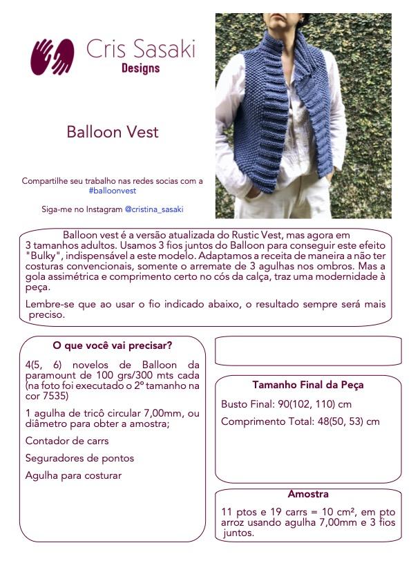 Receita de Tricô Balloon Vest - Empório das Lãs