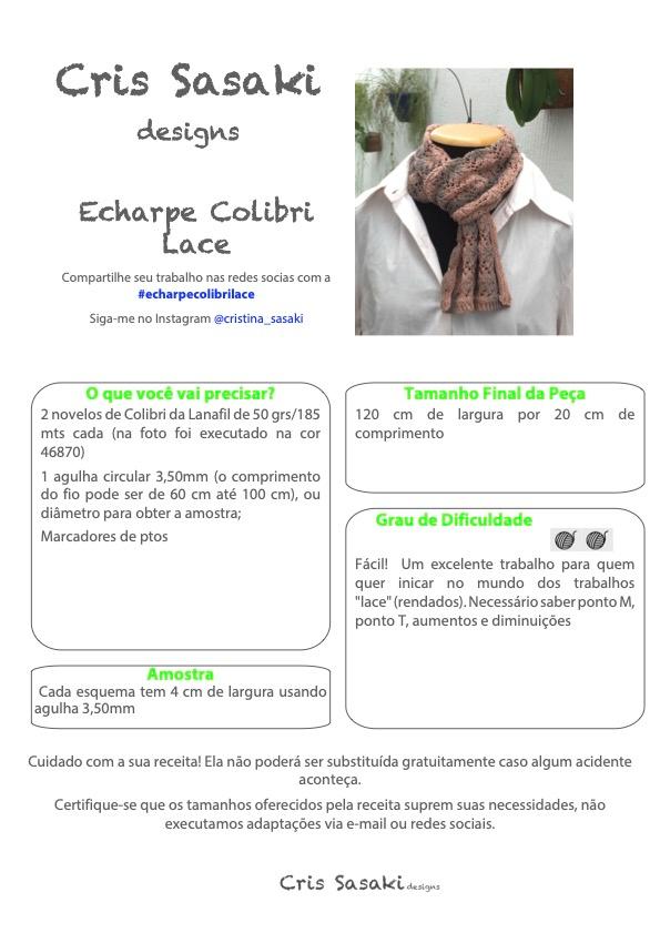 Receita de Tricô Echarpe Colibri Lace - Empório das Lãs