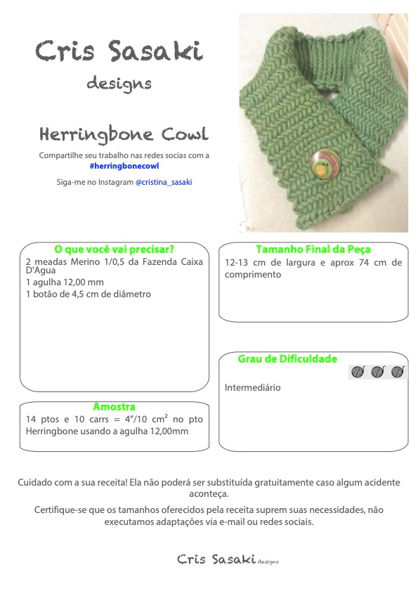 Receita de Tricô Herringbone Cowl - Empório das Lãs