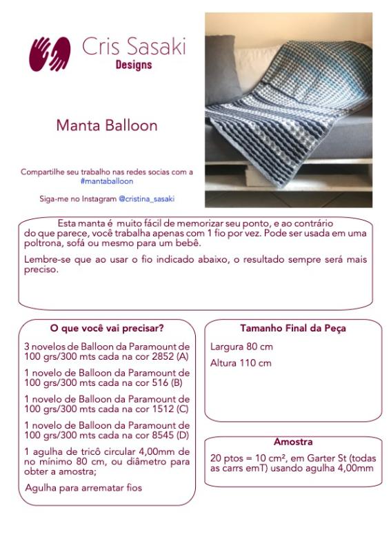 Receita de Tricô Manta Balloon - Empório das Lãs