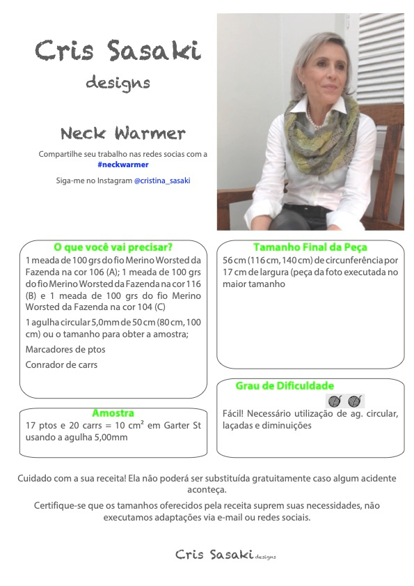 Receita de Tricô Neck Warmer - Empório das Lãs