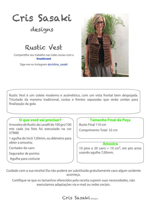 Receita de Tricô Rustic Vest - Empório das Lãs