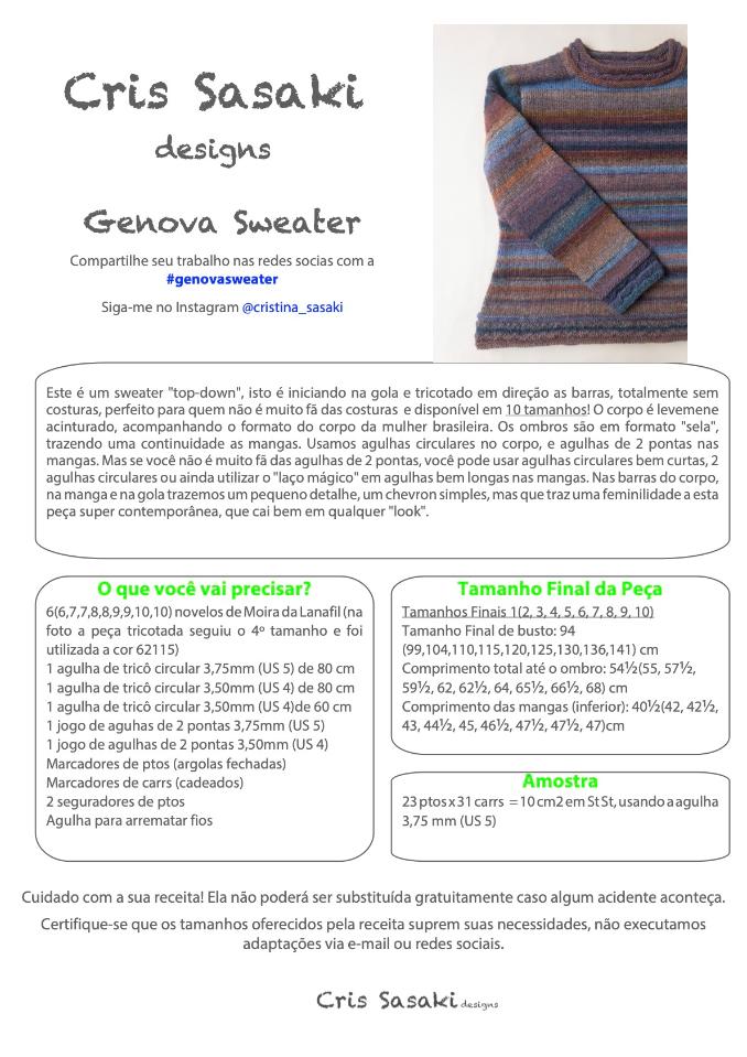 Receita Genova Sweater - Empório das Lãs