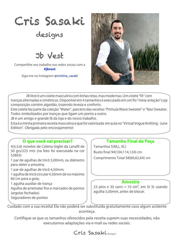 Receita JB Vest  - Empório das Lãs