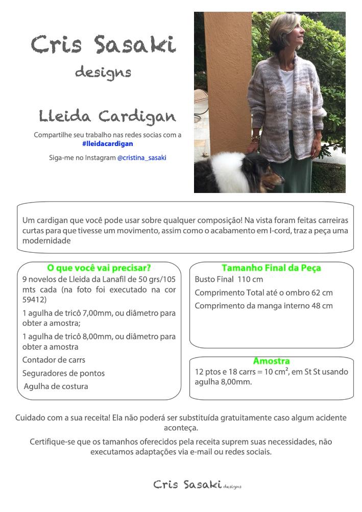 Receita Lleida Cardigan - Empório das Lãs