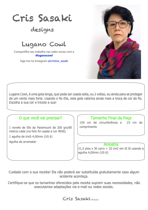 Receita Lugano Cowl - Empório das Lãs