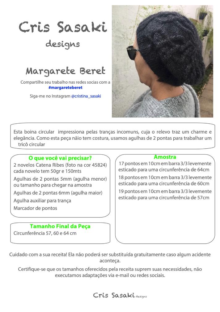 Receita Margarete s Beret - Empório das Lãs