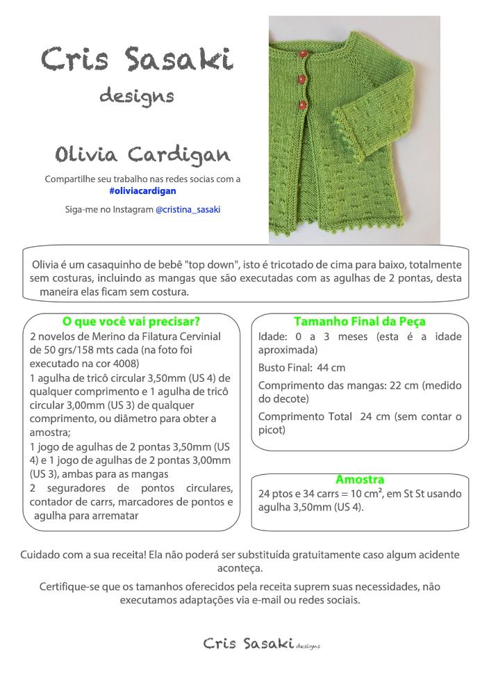 Receita Olivia Cardigan - Empório das Lãs