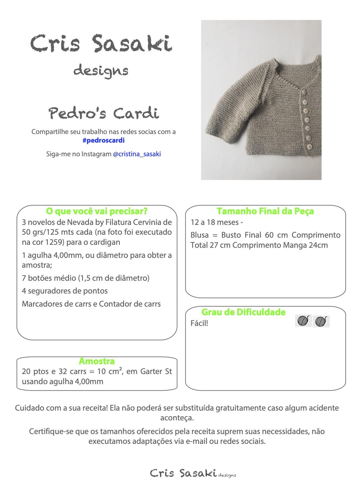 Receita Pedros Cardi - Empório das Lãs