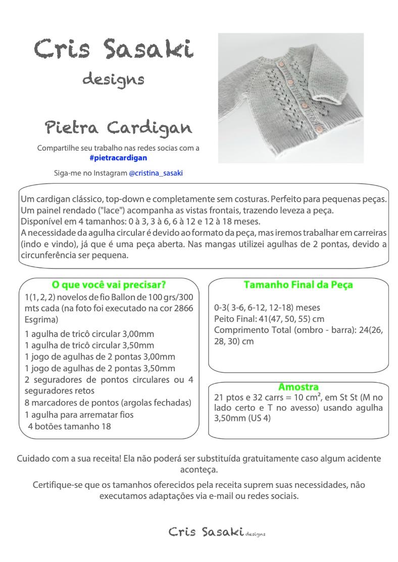 Receita Pietra Cardigan - Empório das Lãs