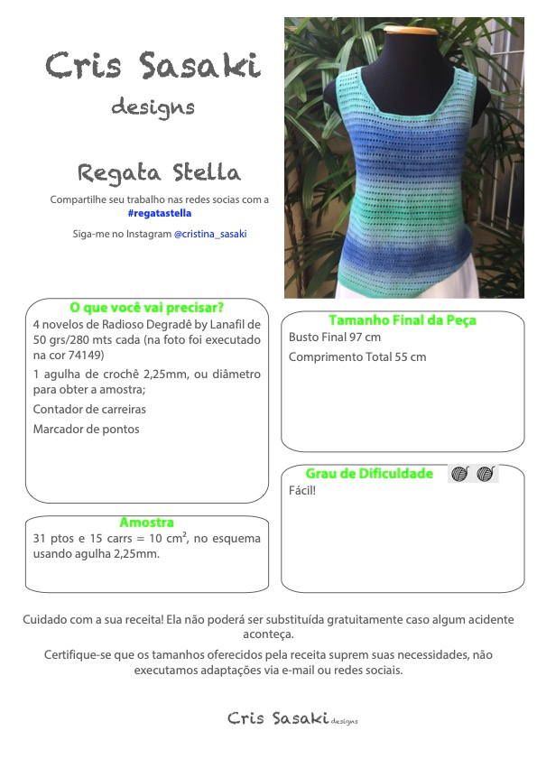 Receita de Crochê Regata Stella - Empório das Lãs