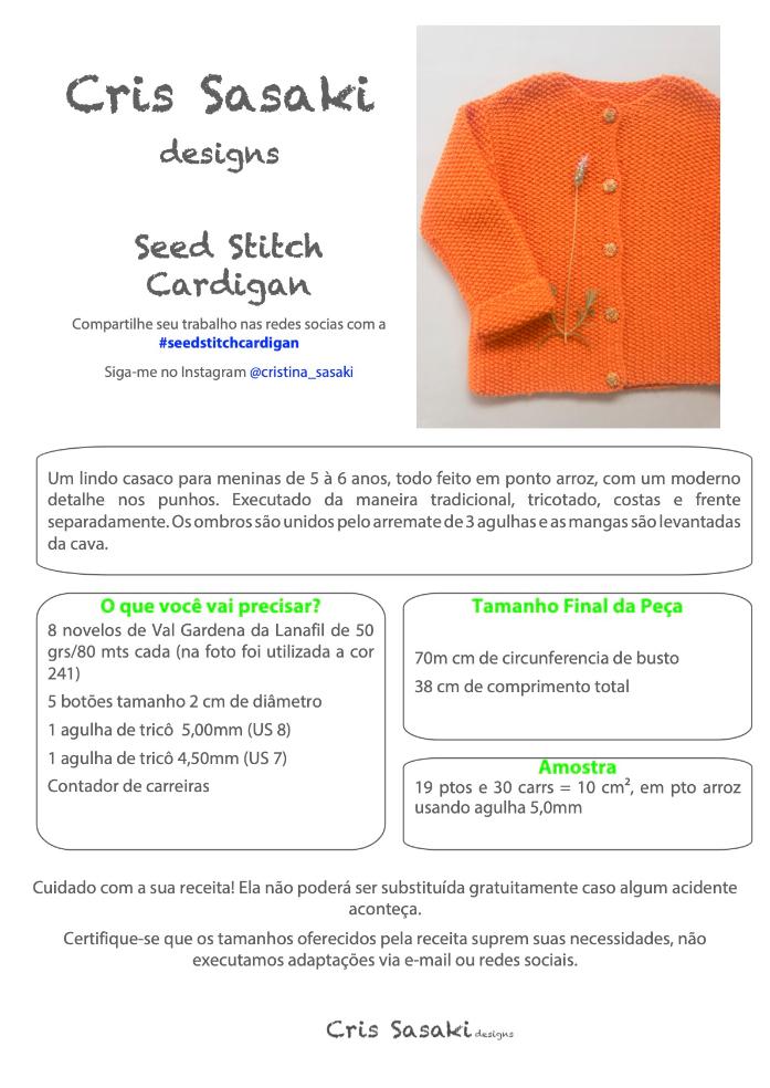 Receita Seed Stitch Cardigan - Empório das Lãs