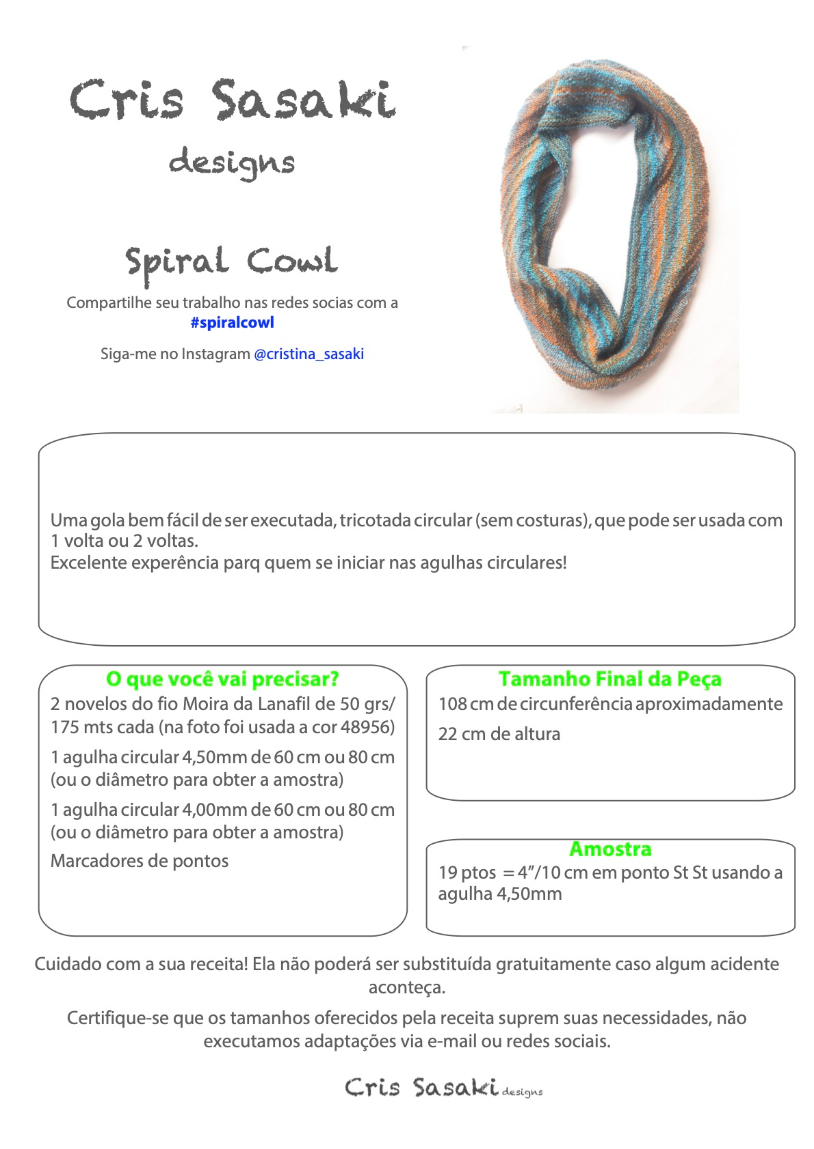 Receita Spiral Cowl - Empório das Lãs