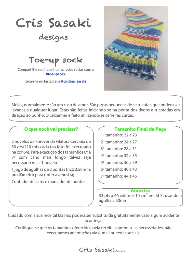Receita Toe-up Sock - Empório das Lãs