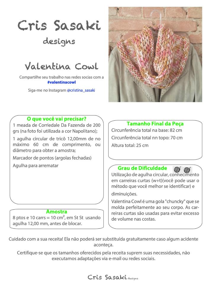 Receita Valentina Cowl - Empório das Lãs