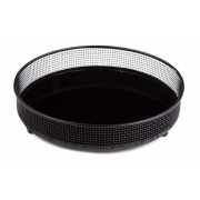 Bandeja aramada redonda preta em metal com vidro
