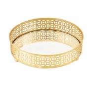 Bandeja Caroline em metal dourada redonda com espelho
