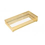 Bandeja Caroline em metal dourada retangular com espelho