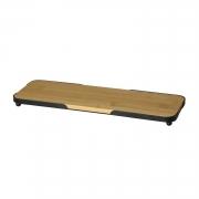 Bandeja retangular natural de bambu com moldura de metal preta