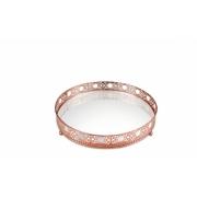 Bandeja Scarlett redonda cobre em metal com espelho