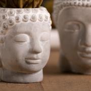 Cachepot  buddha em cimento cinza 8,5x8x9,5cm