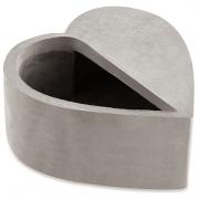Cachepot coração em cimento cinza