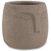 Cachepot faces cinza em cimento