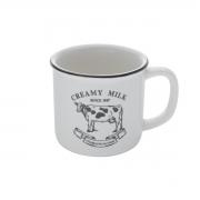 Caneca de porcelana creamy milk branca e preta 260ml