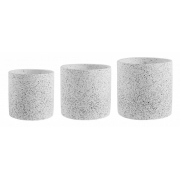 Kit Cachepot Granilite redondo branco e cinza em cimento - 3pçs